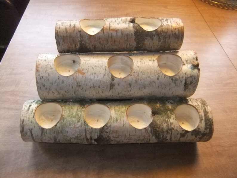 Birch Wood Fireplace Logs 9 Tea Light Candle Holder Rustic Cabin Mantle Decor