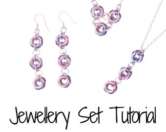 Infinity Loops Set (Mobius Weave) DIY Tutorial - Make your own chainmail earring necklace set handmade