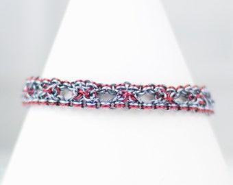 Chainmaille Bracelet, Chainmail Bracelet, Art Deco Style, Intricate Bracelet, Grey Red Lavender Purple, Deep Colors
