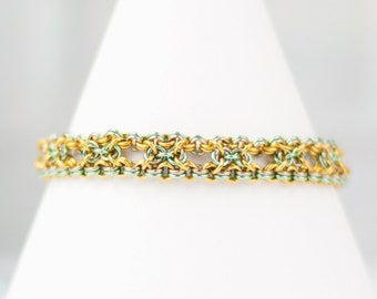 Chainmaille Bracelet, Chainmail Bracelet, Art Deco Style, Intricate Bracelet, Golden Green Tan, Warm Colors