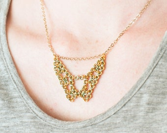 Chainmaille Necklace, Art Deco Necklace, Chain Mail Necklace, Original Design, Intricate Design, Golden Green Tan, Warm Colors