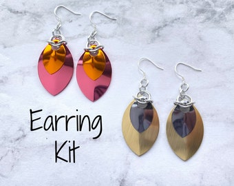 Double Scale Earrings DIY Kit - Make your own chainmail scalemaille handmade (Limited Edition Colours)