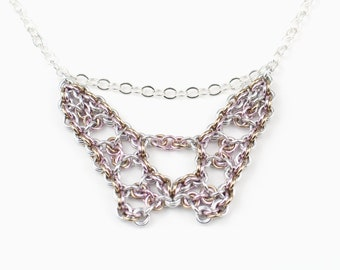 Chainmaille Necklace, Art Deco Necklace, Chain Mail Necklace, Original Design, Intricate Design, Silver Pink Tan, Warm Colors