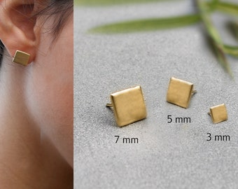 61a113eaa Square Stud Earrings Post Earrings Minimalist Stud Earrings Square Earrings  Small Earrings Small Gold Stud Earrings Square Studs