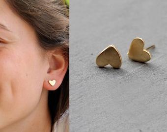 Heart stud earrings heart earrings gold heart earrings, silver heart earrings minimalist earrings rose gold heart earrings heart studs