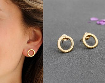 Gold Open Circle Earrings gold circle earring gold circle studs Minimalist stud earrings Small gold stud earring gold geometric studs
