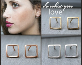 Square earrings, Square Studs, rose gold stud earrings, Geometric earrings stud, geometric stud earrings gold minimalist studs tiny