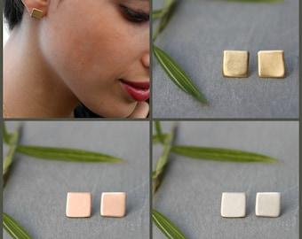Square Earrings Stud Small Gold Stud Earrings, Gold Square stud Earrings, Geometric Jewelry, Nickel free earrings