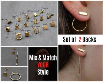 Gold Ear Jacket Set Earring Ear Jackets Minimal Ear Jacket Geometric Ear Jacket Earring Long Unique Ear Jacket Bar Front Back Earrings Gold