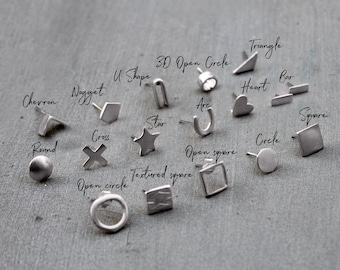 Mix and Match Studs Earrings Set Mismatched Earrings Sterling Silver Earings mix Match Earrings Silver Geometric Earring Stud Earrings studs
