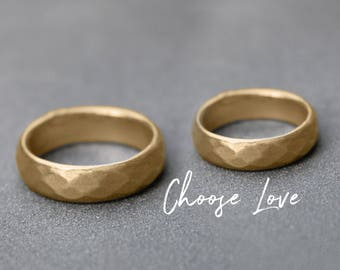 Gold Wedding Band set, Gold his and hers Wedding bands, his and hers wedding rings, His and his, Hers and Hers Matching bands, couples rings
