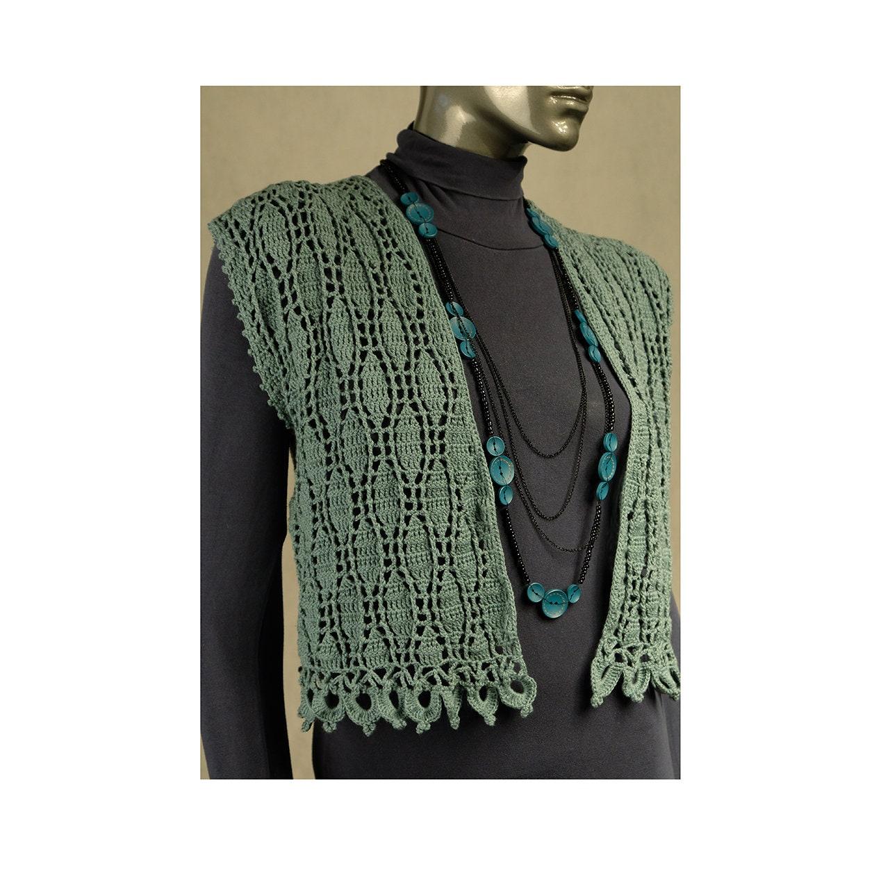 f711db91581f29 Waistcoat oversize crochet Top loose open front green gray