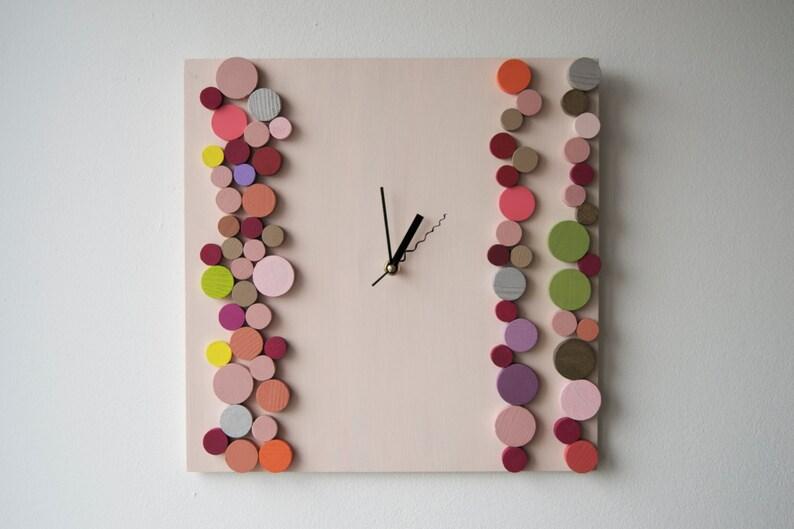 Déco bonbons bulles/horloge murale en bois/géométrique mosaïque/original Design Liliana Stoica