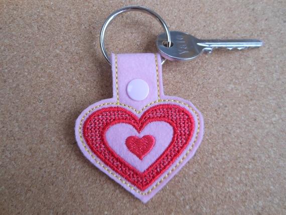 Heart keyring for girl felt key rings love heart key rings  7688db1a4