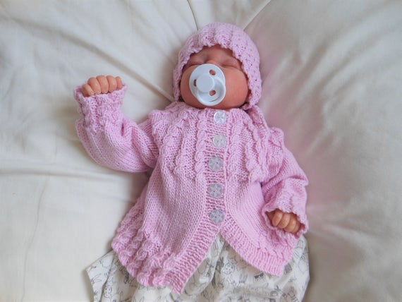 90d980268 Hand knitted baby girls cardigan baby girl clothes UK cotton