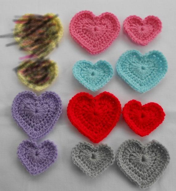 Crochet Hearts Embellishments Camo Hearts Bridal Cone Crafting Supplies Miniature Hearts Birthday Decoration Heart Applique