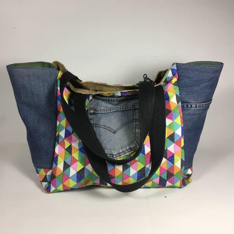 beach bag Large tote bag recycled bag eco friendly bag beach tote handmade tote burlap bag vegan bag