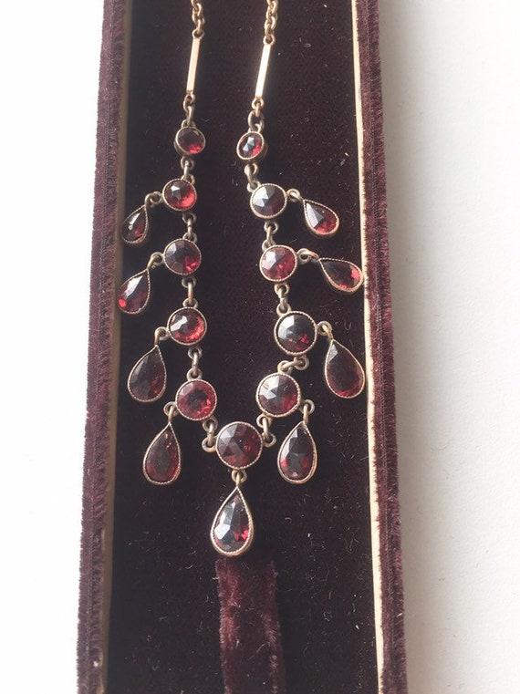 BOHEMIAN GARNET NECKLACE Victorian Garnet Antique