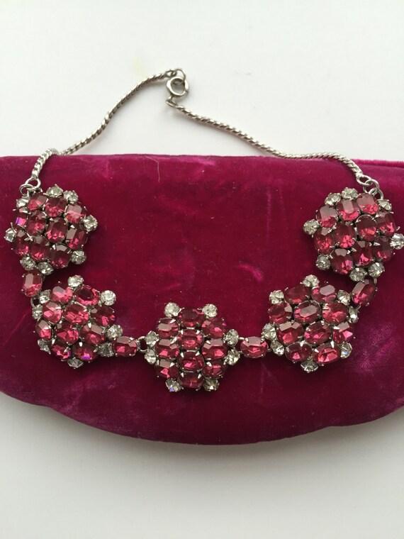 ANTIQUE1940s NECKLACE Antique floral glass necklac