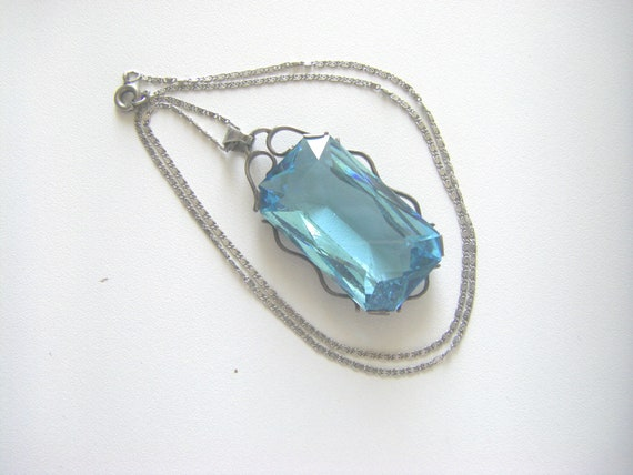 ANTIQUE STERLING NECKLACE Antique sterling glass p