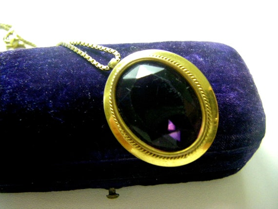 ANTIQUE AMETHYST NECKLACE Anethyst Glass Antique N