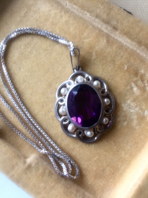 ANTIQUE AMETHYST NECKlACE Sterling Antique Amethys