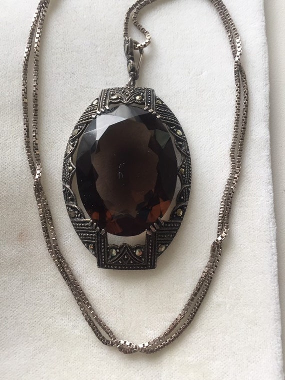ANTIQUE STERLING NECKLACE Amber glass Antique Neck