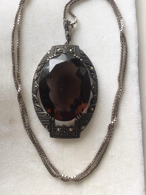 ANTIQUE STERLING NECKLACE Amber glass Antique Neck