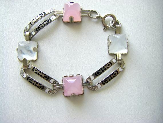 ART DECO BRACELET Sterling Art Deco bracelet. Enam