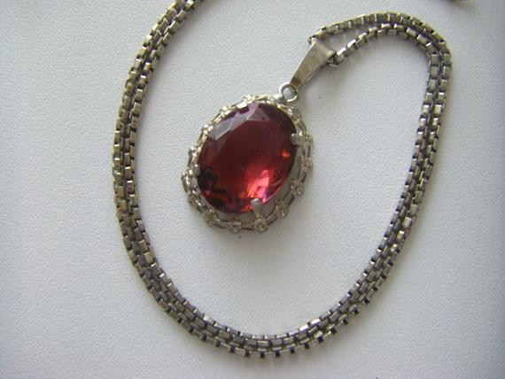 ANTIQUE STERLING NECKLACE Sterling Antique Pendant