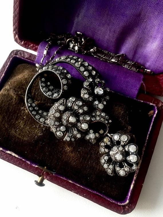 Antique Paste necklace. Sterling antique pastepend