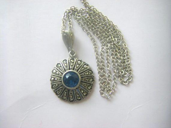 ANTIQUE STERLING PENDANT  Sapphire Glass Antique N