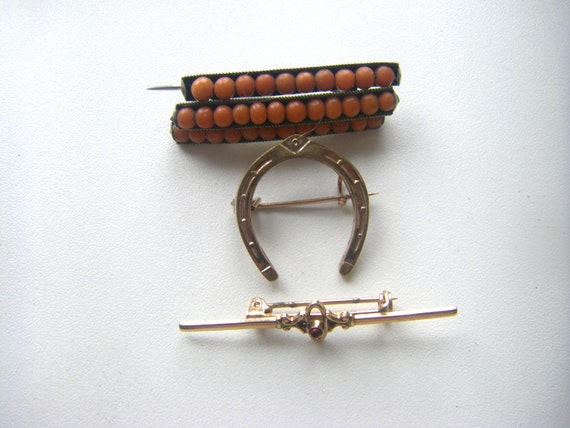 Antique Coral Pin. Victorian Stick Pin. Antiqie Ho