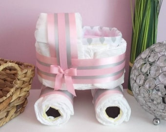 Pink stroller diaper cake, perfect gift for baby girl, original baby girl diaper cake