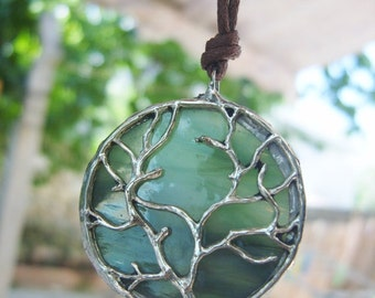 Tree of Life Pendant, Stained Glass Necklace, Olive Green Glass Pendant, Tree Jewelry, Tree Necklace, Family Tree, Tree of Life Jewelry