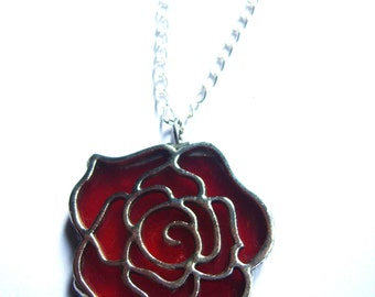 Red Rose Necklace - Stained Glass Handmade Jewelry, Red Pendant Necklace, Flower Necklace, For her, Floral Jewelry, Valentine's Gift