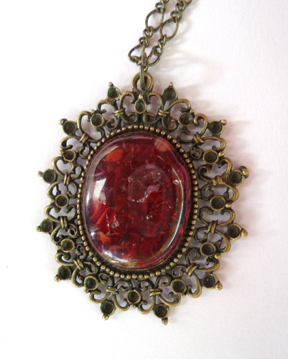 Ruby red Murano glass pendant nickel-free Fused glass jewel Unique gift for woman or girl