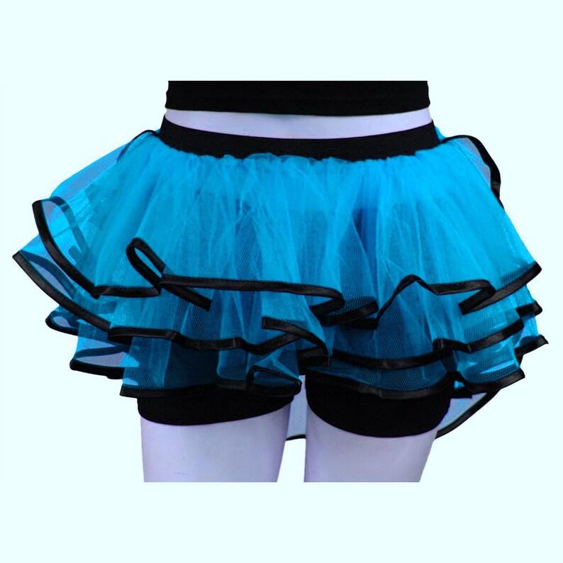 Blue Peacock Bustle Ribbon Tutu Skirt Tulle Clubbing Dance Rave Night Halloween