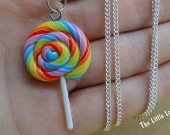 Big Rainbow Lollipop Necklace - Fimo Food
