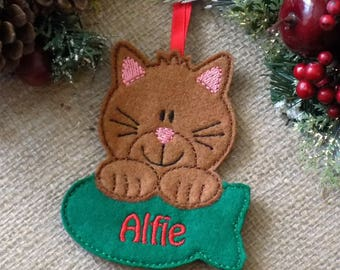 personalised christmas decoration cat christmas decoration pet decoration gift for cat lover christmas decoration felt tree decoration
