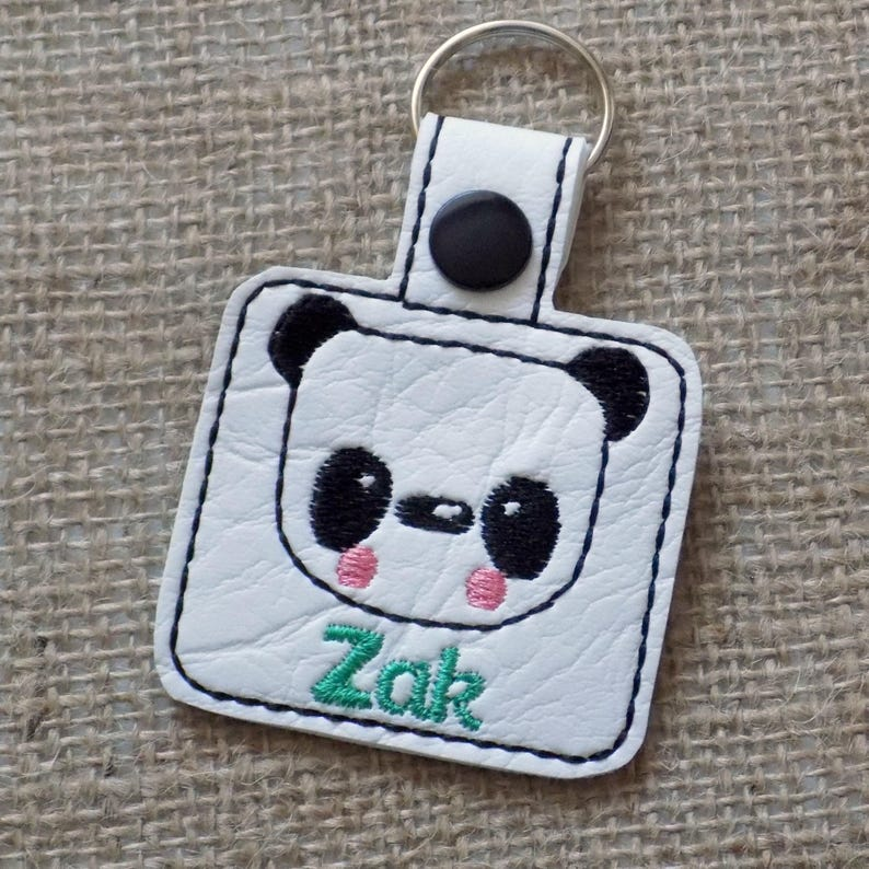 school bag tag personalised keyring back to school panda image 0