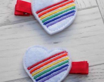 rainbow hair clips, heart hair clip, hair clip, girls hair accessories, rainbow hair bow, hair accessories, rainbow felt hair clips