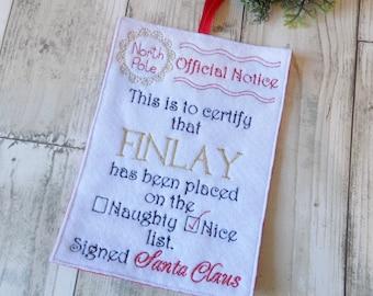 santa nice list, nice list certificate, naughty list, personalised christmas decoration, christmas eve gift, santa scroll, tree decoration