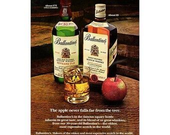 Vintage 1980 magzine ad for Ballantines Scotch - 227