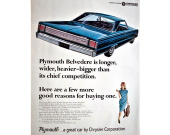 original 1966 Plymouth Belvedere advertisement, Plymouth wall decoration, 1966 advertisement, man cave decoration - 21