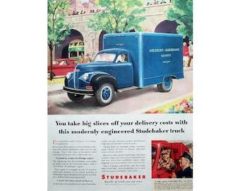 Original advertisement for a 1947 Studebaker truck, 1947 truck advertisement, vintage advertisement, man cave decoration - 39