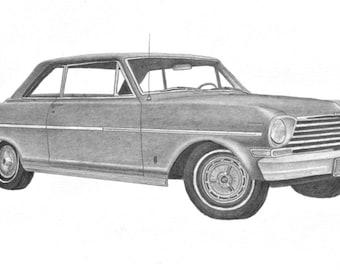 Print of my Car art drawing of a 1963 Chevy Nova, Chevy Nova wall decoration