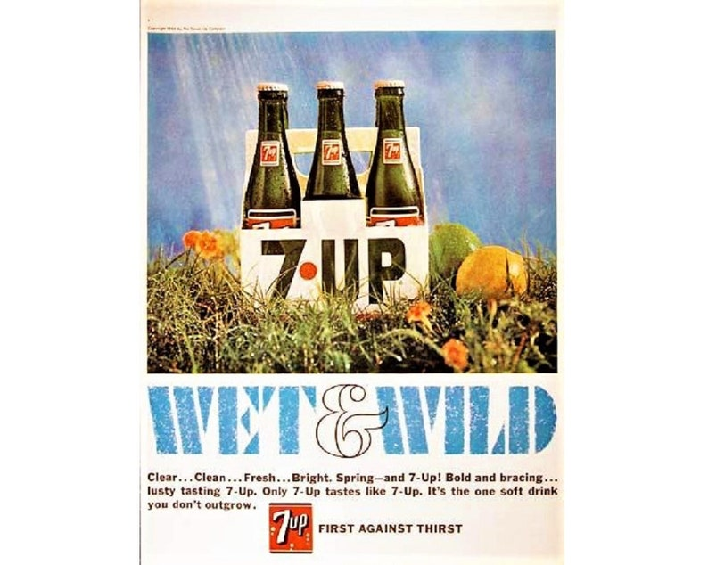 original 1966  7-up advertisement 1966 advertisement 13 man cave decoration 1966 soft drink advertisement Vintage advertisement