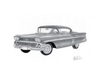 Chevrolet 1958, Impala 1958, print of my Car art drawing of a 1958 Chevrolet Impala, man cave decoration