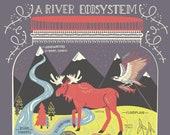 A River Ecosystem: Terrarium Art Print